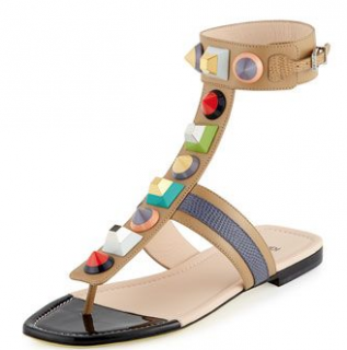 Fendi Studded Leather Gladiator Sandal, Toast/Myrtle/Barley