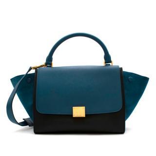 Celine Small Blue & Black Suede Leather Trapeze Bag