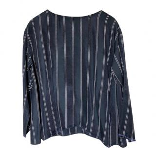 Forte Forte Blue Striped Crepe Top