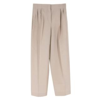 Celine Beige Wool High-Waisted Trousers