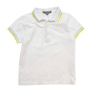 Bonpoint White Contrasting Trims Cotton Polo Shirt