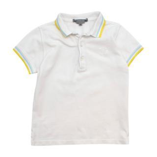 Bonpoint White Contrasting Trims Cotton Polo Shirt