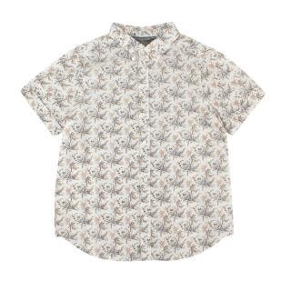 Bonpoint Ivory & Green Floral Print Cotton Shirt