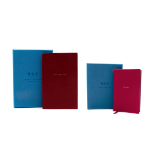 Smythson Red & Pink 'Me, Me, Me'/'OMG!' Panama & Wafer Notebook Set
