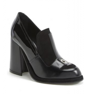 JW Anderson Black Suede & Leather Grommet Detail Block Heel Loafers