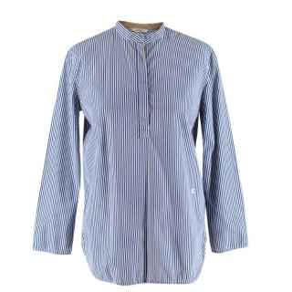 Celine Blue & White Striped Cotton Long-Sleeve Blouse