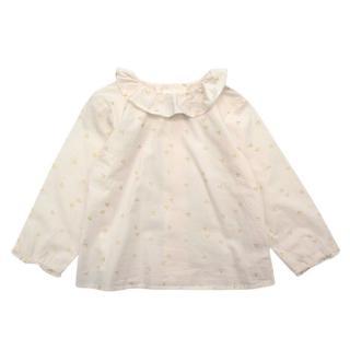 Bonpoint Ivory & Gold Cherry Logo Print Cotton Blouse
