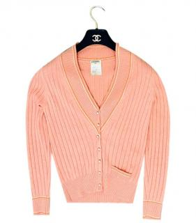 Chanel Salmon Pink Ribbed Knit Cashmere Cardigan