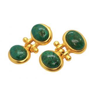 CCori Vintage Gold Tone Moss Agate Earrings
