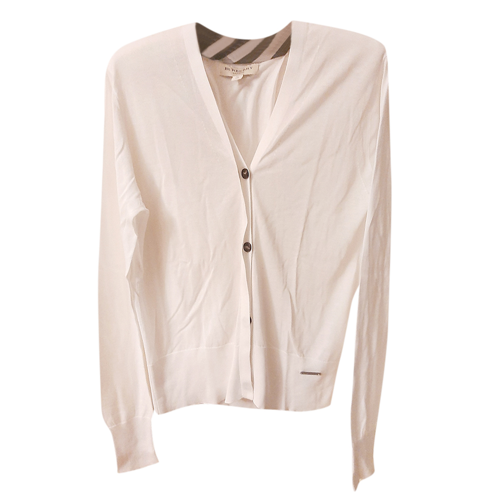 Burberry White Cotton Cardigan