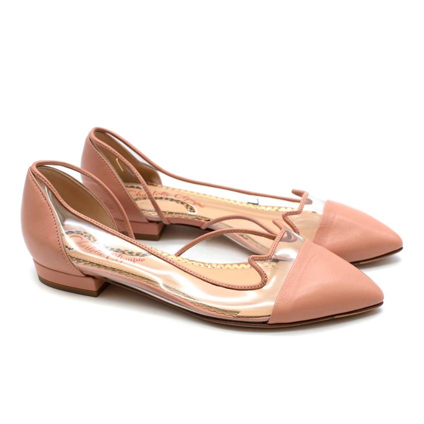 Charlotte Olympia Pink Leather & Vinyl Kitten Flats - Size 34