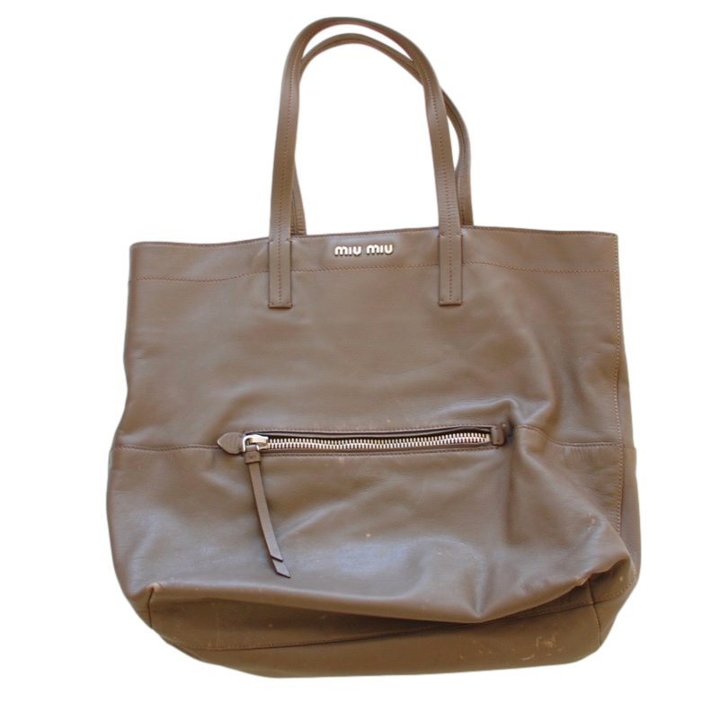 Miu Miu Taupe Leather Shoulder Bag