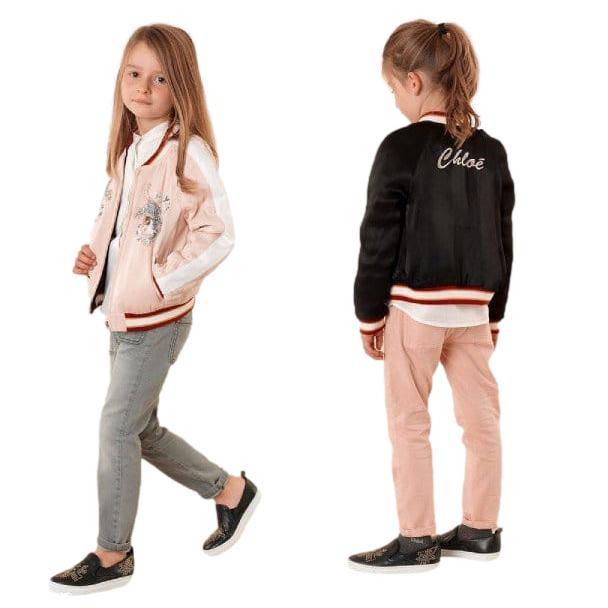 Chloe Kids 10Y Pink/Black Satin Reversible Bomber Jacket