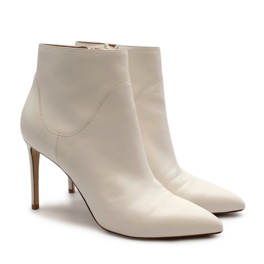 Francesco Russo White Leather Heeled Ankle Boots