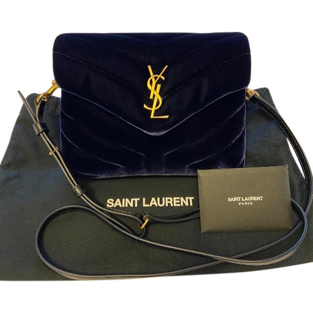 Saint Laurent Blue Velvet Toy Loulou Bag