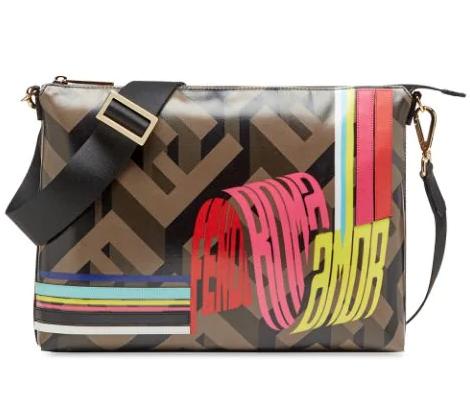 Fendi Wave Logo Messenger Bag In Brown