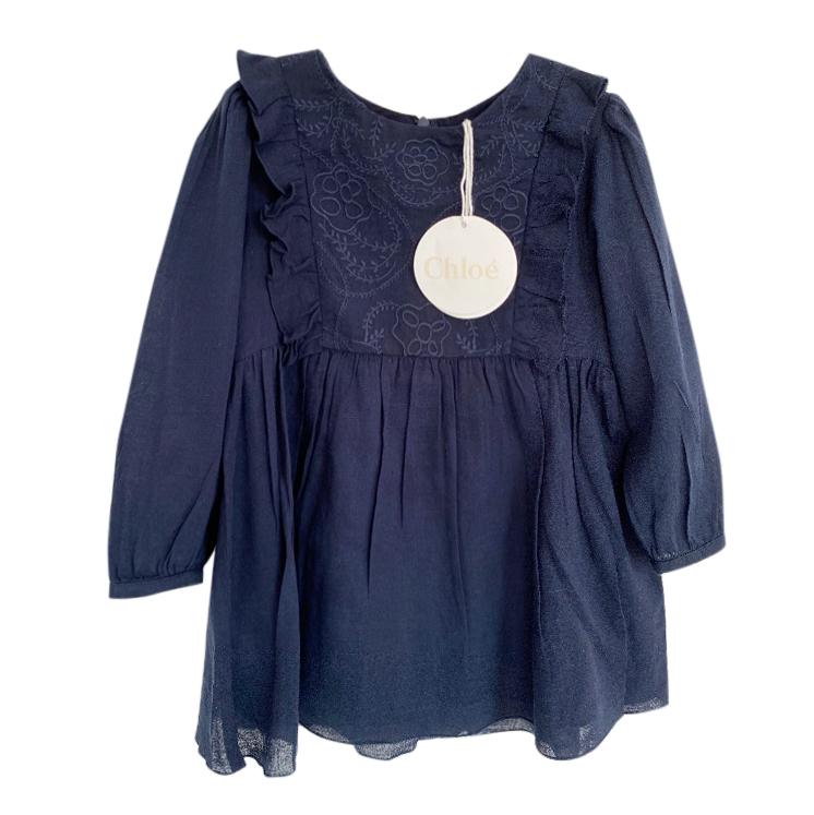 Chloe Blue Embroidered Girls 4Y Dress