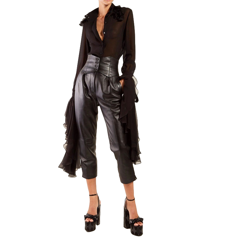 Saint Laurent Runway Black Lambskin Corset-waist Trousers