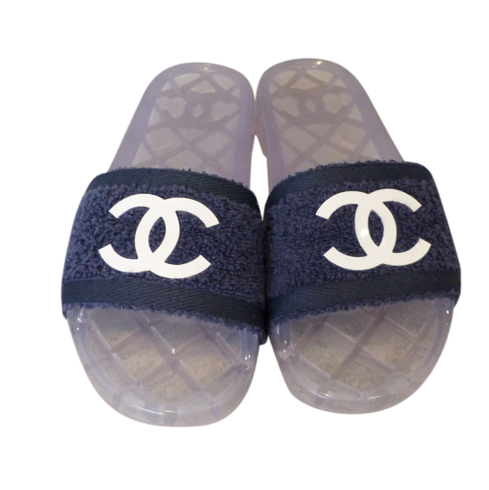 Chanel Blue Terry Jelly Pool Slides