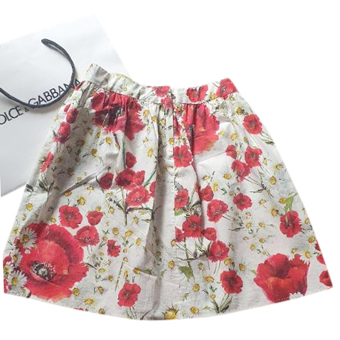 Dolce & Gabbana Kids 6Y Floral Print Pleated Skirt