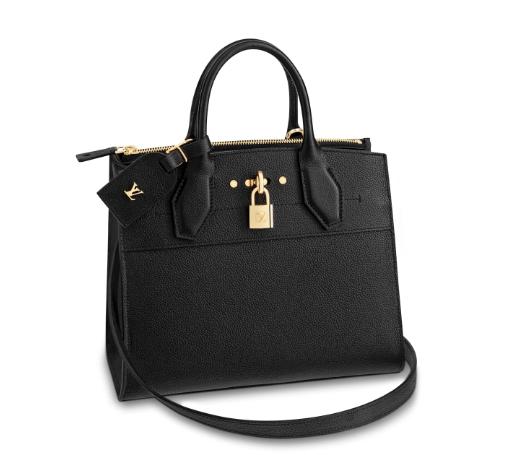 Louis Vuitton Black Grained Calfskin City Steamer PM