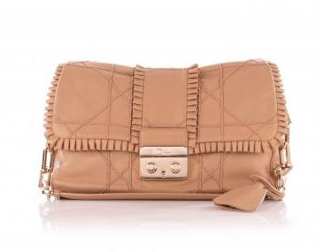 Dior Beige Ruffled New Lock Cannage Flap Bag