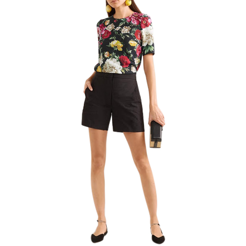 Dolce & Gabbana Floral Print Silk T-Shirt