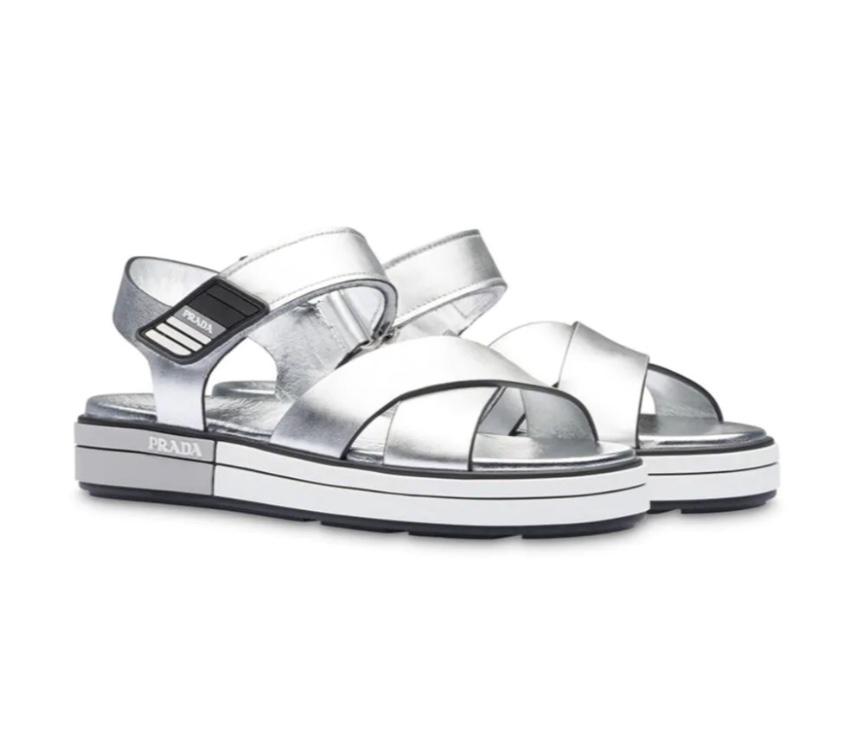 Prada Metallic Silver Crossover Strap Sandals