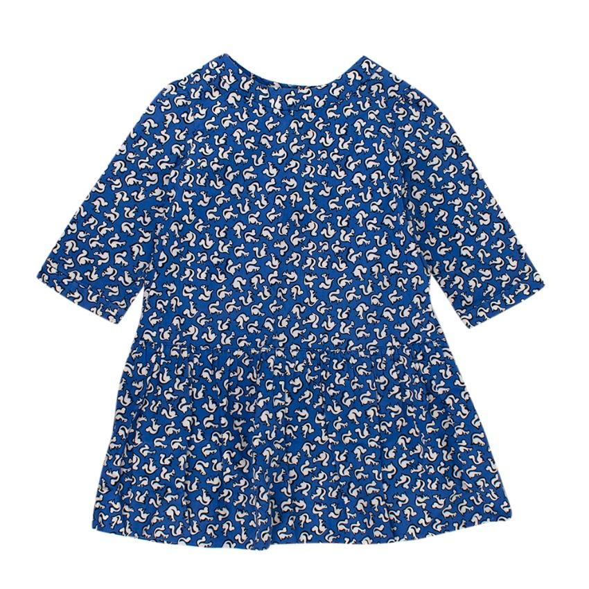 Bonpoint Blue Squirrel Print Cotton Dress