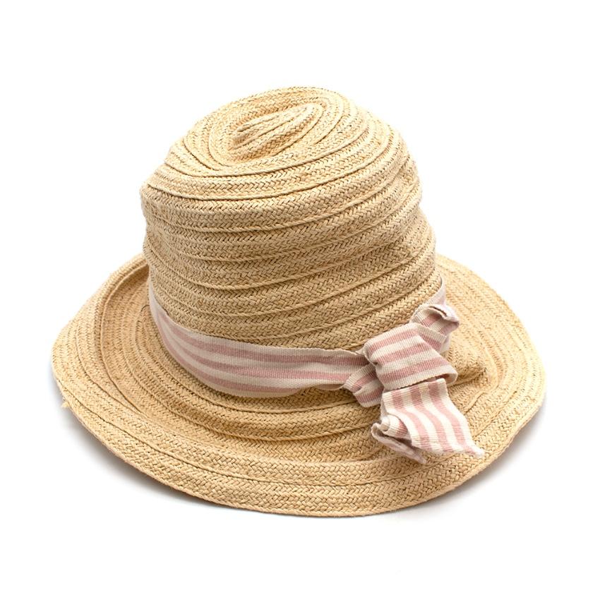 Bonpoint Paper Straw Pink Stripe Ribbon Hat