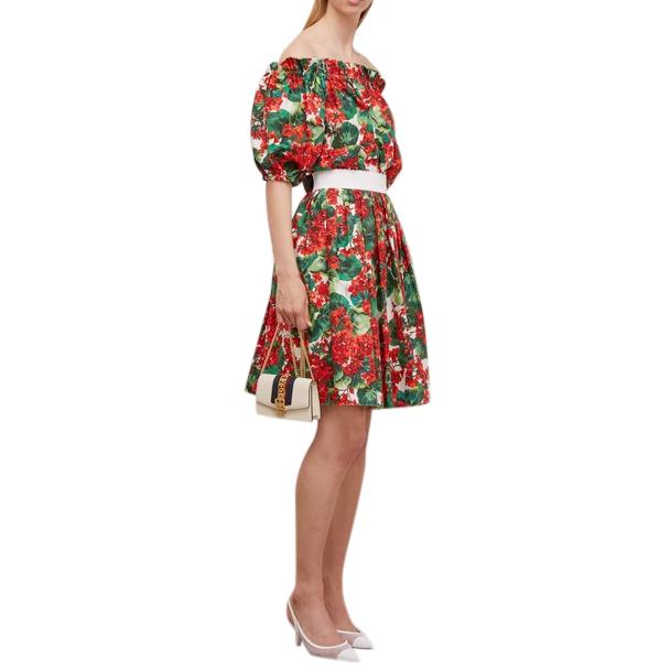 Dolce & Gabbana Geranium-print cotton-poplin skirt