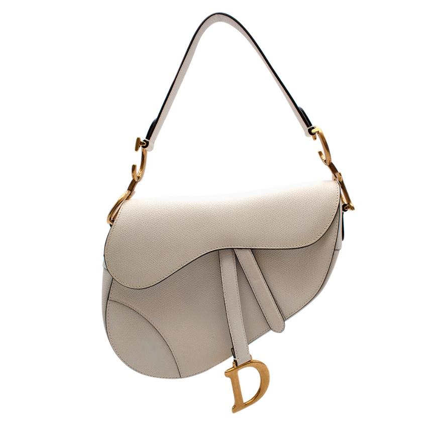 Christian Dior Current Season Latte Grained Calfskin Saddle Bag