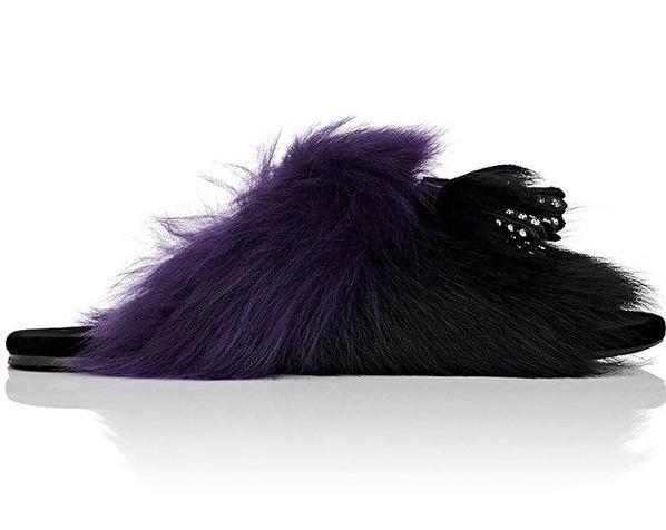 Prada Black & Purple Women's Tassel-Embellished Fur Slides