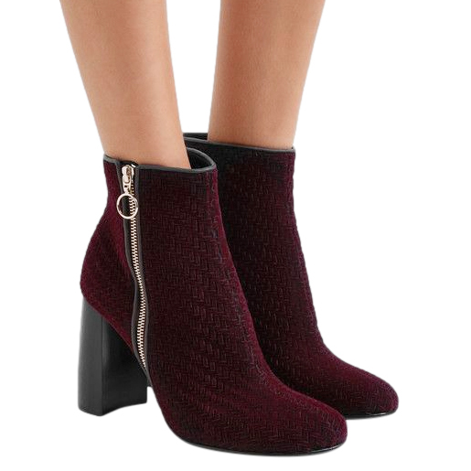 Stella McCartney Burgundy Woven faux suede ankle boot