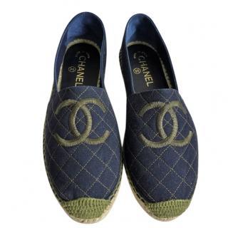 Chanel Denim Khaki Embroidered CC Espadrilles