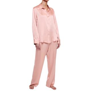 Asceno Blush Sandwashed Silk Pyjamas