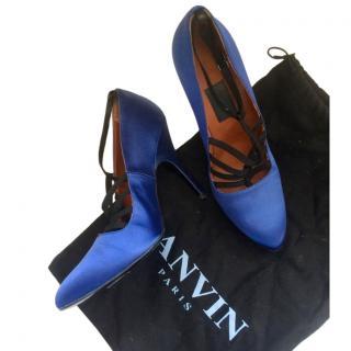 Lanvin Blue Satin Strappy Pumps