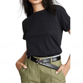 Off White Black Arrow Buckle Leather Belt - Size 75
