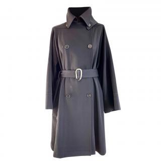 Hermes Black Virgin Wool Cape Trench Coat