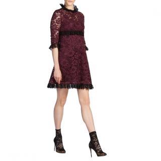Dolce & Gabbana Plum Corded Lace Ruffle Dress