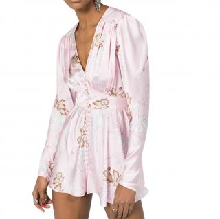 Paco Rabanne Floral Print Crystal Button Down Mini Dress
