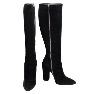 Giambattista Valli Black Suede Knee Boots
