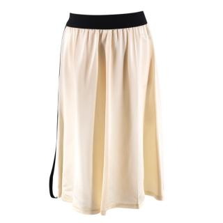 Celine Ivory Satin Zipped Skirt