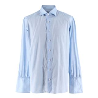 D'Avino Blue Cotton Hand Tailored Shirt