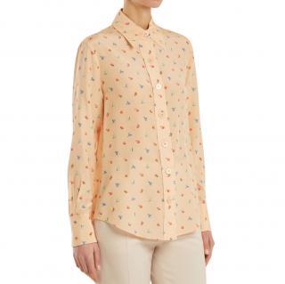 Joseph peach floral print silk scarf