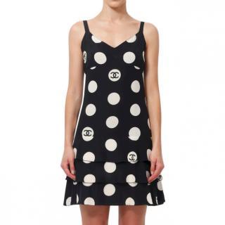 Chanel Runway Polka Dot Black Ruffle Mini Dress