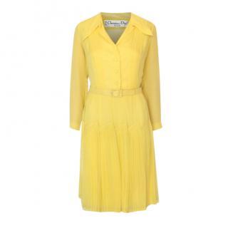 Christian Dior Vintage Yellow Silk Shirt Dress