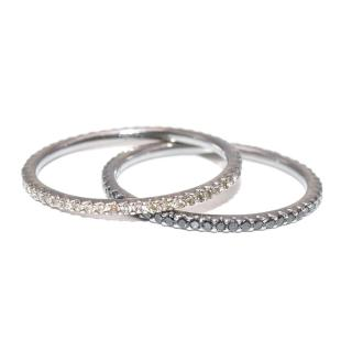 Bespoke Set of Two 18kt Gold Black & White Diamond Stacking Rings