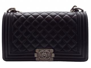 Chanel Black Lambskin Quilted Boy Bag