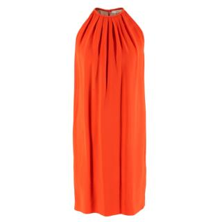Celine by Phoebe Philo Orange Silk Pleated Mini Dress